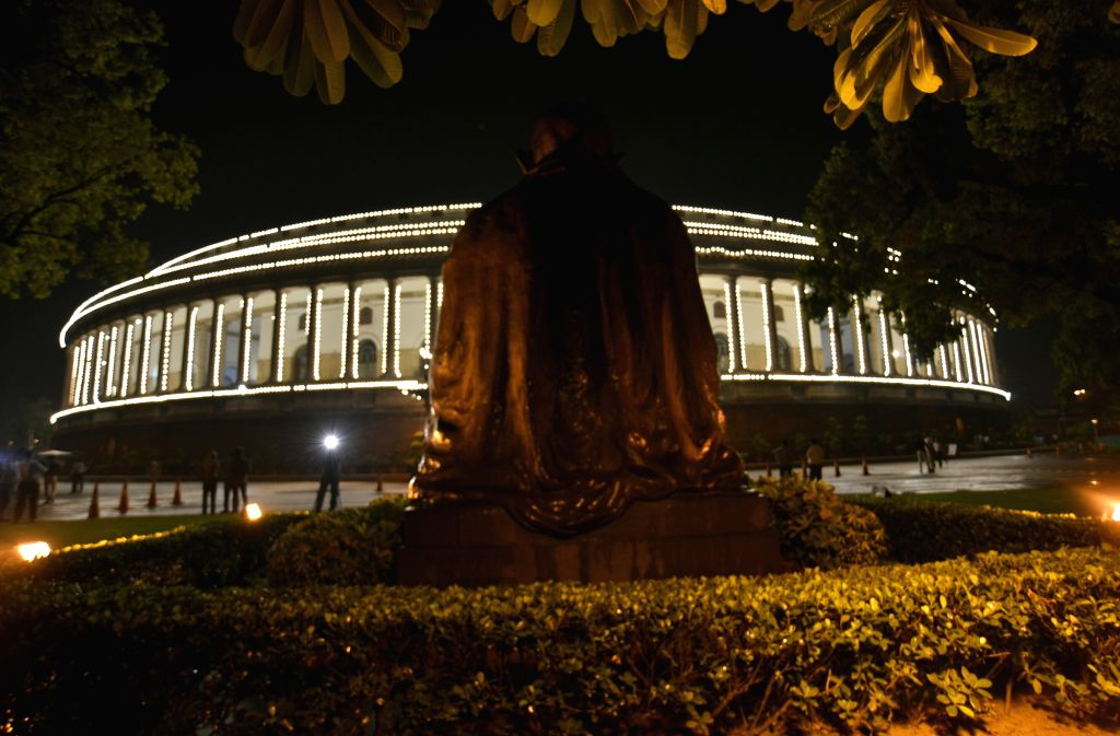 A view of Parliament House ahead of roll out of GST in New Delhi, on June 30, 2017.