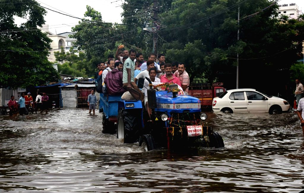 A view of Patna's flood affected Kankarbagh, on Sep 30, 2019.