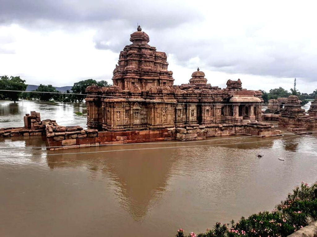 A view of Pattadakal temple submerged in water, in Karnataka's Bagalkote district on Aug 9, 2019.