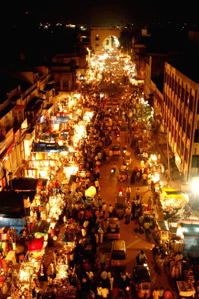 A view of Patthergatti-Charminar stretch during night in Ramadan.
