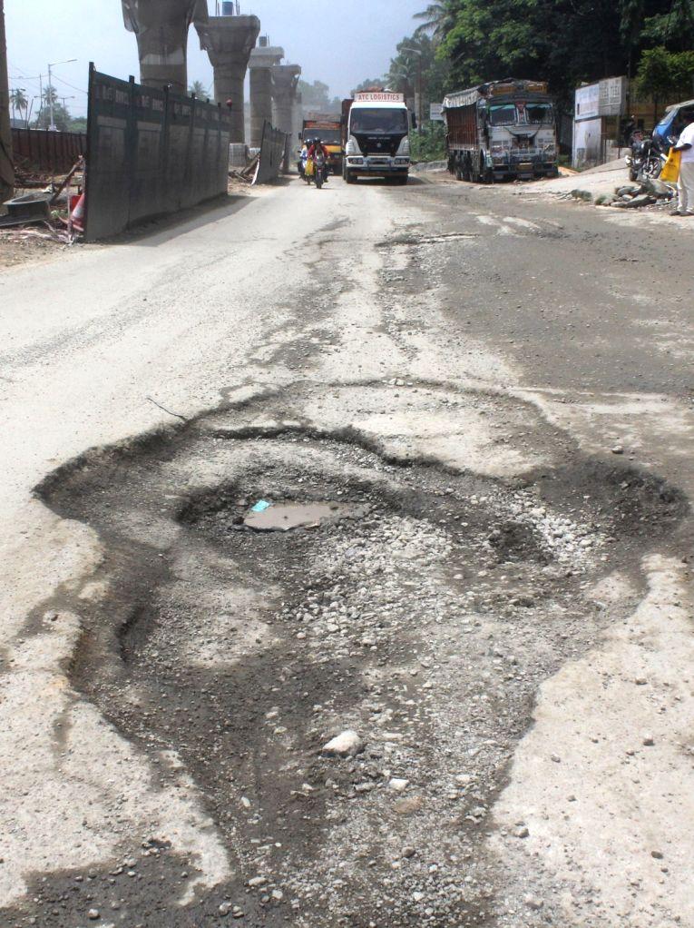 A view of potholes on Mysuru road in Bengaluru on Oct 11, 2017.