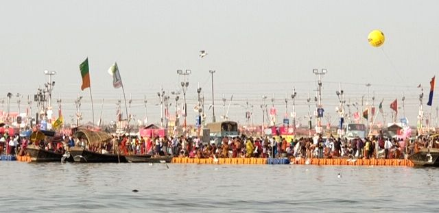 A view of Prayagraj as seen from a boat.