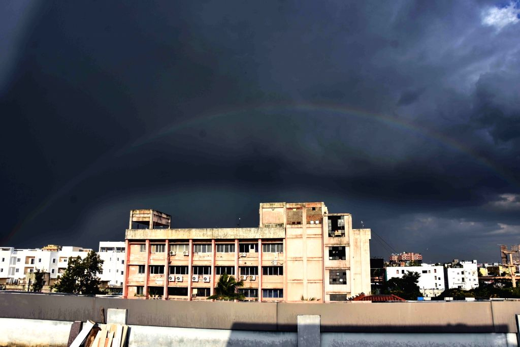 A view of rainbow in the overcast skies of Hyderabad, on Sep 14, 2019.