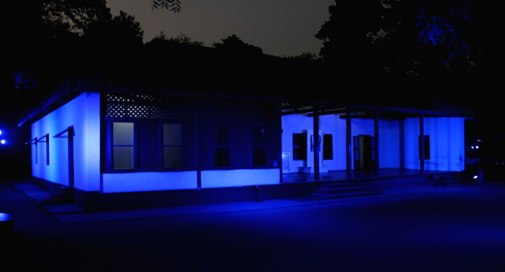 A view of Sabarmati Gandhi Ashram illuminated with symbolic blue colour of the United Nations as part of the worldwide celebrations of the 70th anniversary of the United Nations in ... - Sabarmati Gandhi Ashram