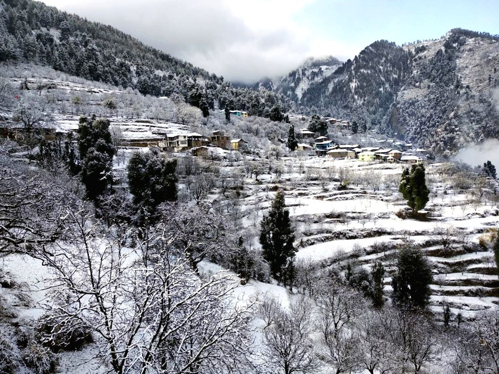A view of snow clad Bharmour village near Chamba, Himachal Pradesh on Dec 12, 2018.