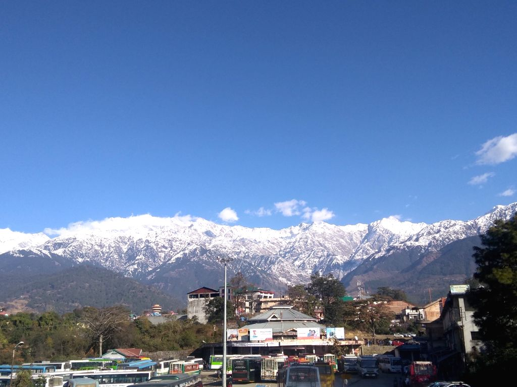 A view of snow clad Dhauladhar range as seen from Palampur, Himachal Pradesh, on Jan 9, 2019.