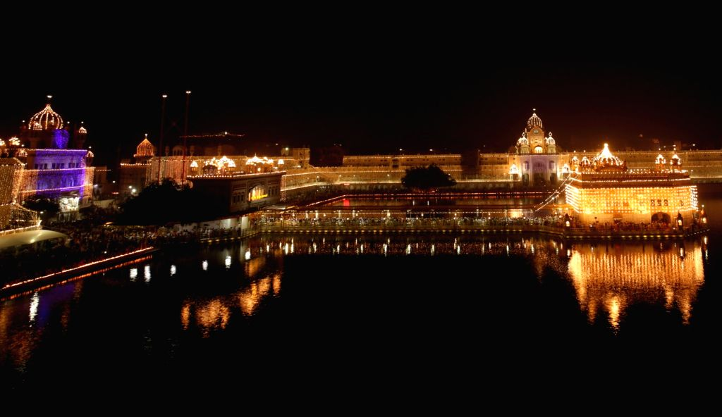 A view of spectacularly illuminated Golden Temple on Diwali in Amritsar on Oct 30, 2016.
