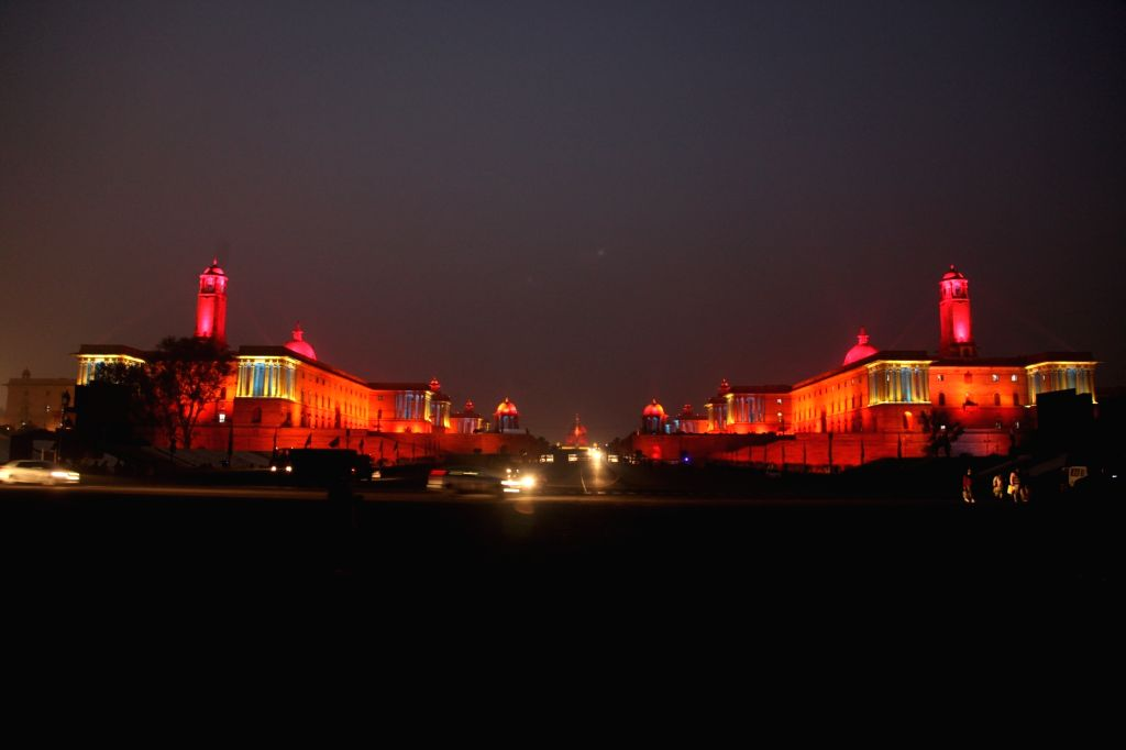 A view of spectacularly illuminated North Block and South Block buildings ahead of Republic Day in New Delhi on Jan 24, 2018.