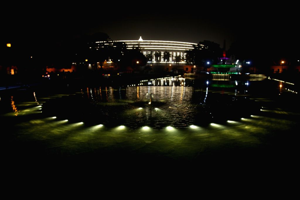A view of spectacularly illuminated Parliament ahead of Republic Day in New Delhi on Jan 24, 2018.