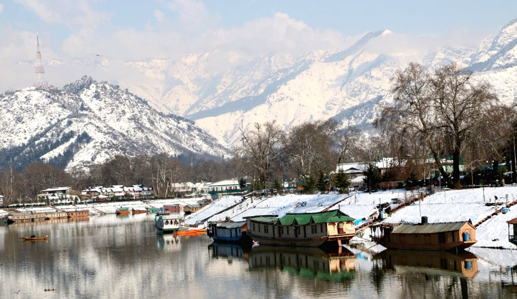 A view of Srinagar after snowfall as seen from the banks of Jhelum river on Feb 10, 2019.