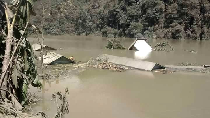 A view of submerged houses after a landslide formed a 300 ft deep and around 3 km long natural lake at 4 mile, Dzongu in North Sikkim on Aug 14, 2016.