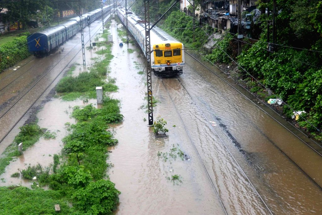 A view of submerged track as heavy rain hit train services in Mumbai on June 27, 2017.