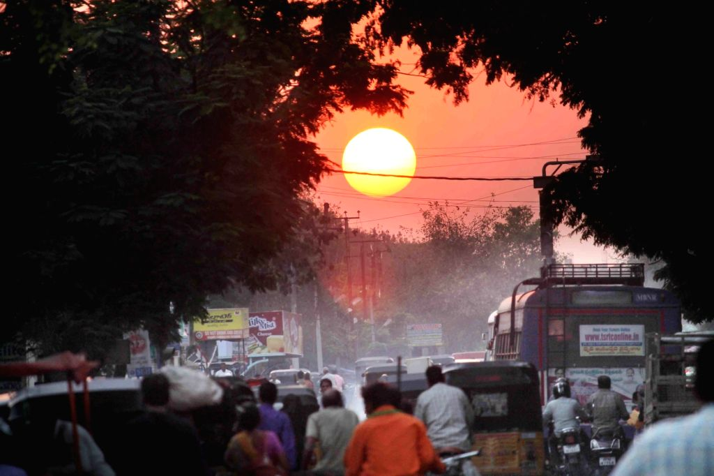 A view of sunset as seen from Hyderabad on March 5, 2017.