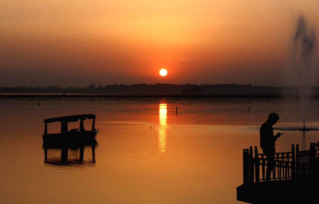 A view of sunset from the banks of Dal Lake in Srinagar.