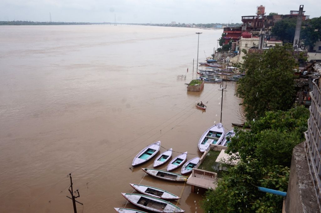A view of swollen Ganga river after a heavy rainfall in Varanasi on July 19, 2016.