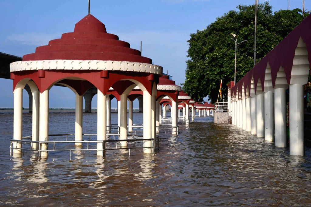 A view of swollen Ganga river that breached the danger mark at Gandhi ghat in Patna on Aug 25, 2019.