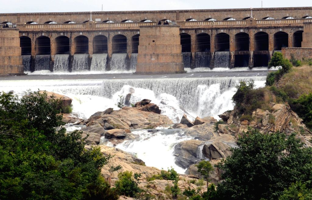 A view of swollen Krishna Raja Sagar (KRS) dam where water level has gone beyond 100 feet mark due to incessant rains in the state, in Mysore, on July 13, 2018.