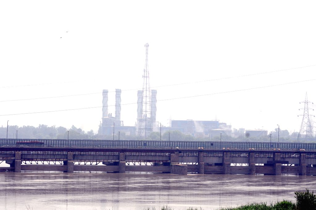 A view of swollen Yamuna river after Haryana released water, in New Delhi on Aug 18, 2015.