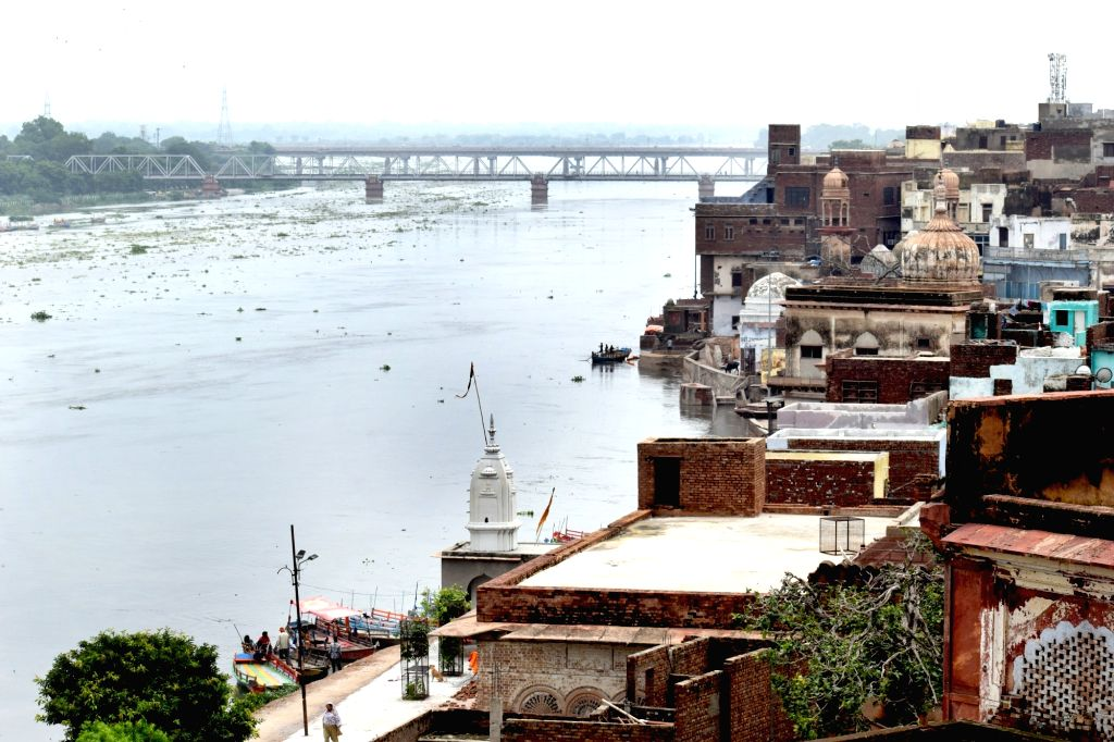A view of swollen Yamuna river in Mathura on July 29, 2018.