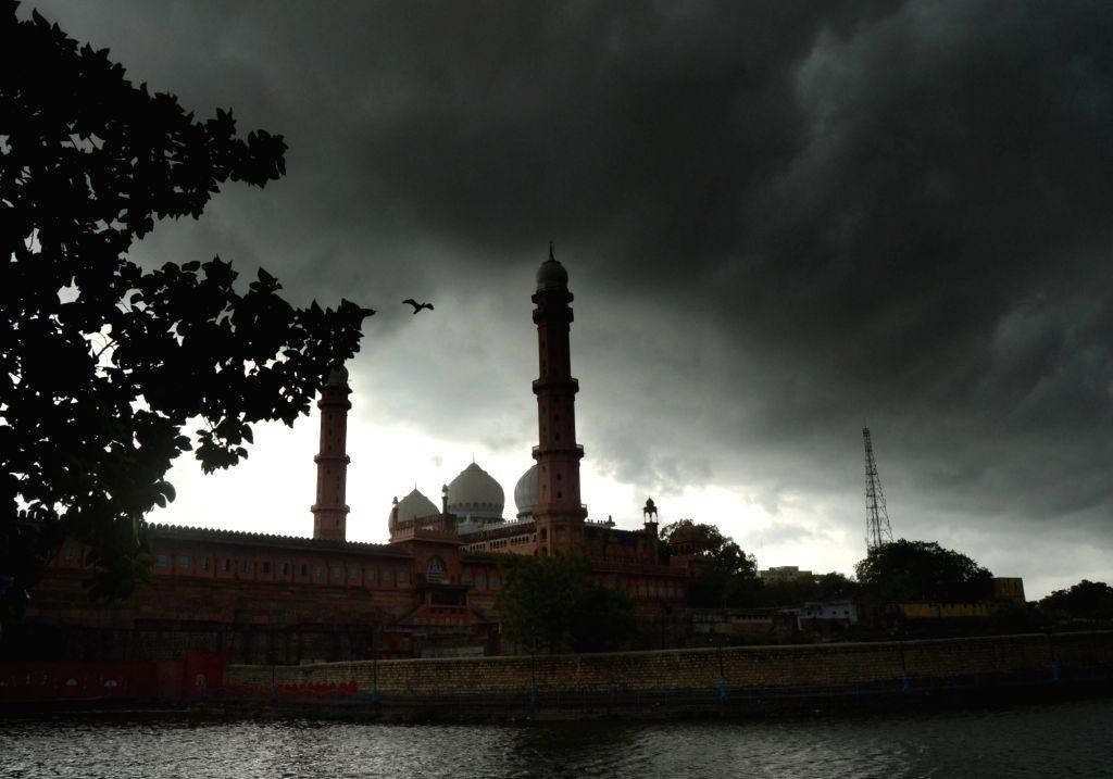 A view of Taj-ul-Masajid on an overcast day in Bhopal on July 3, 2016.