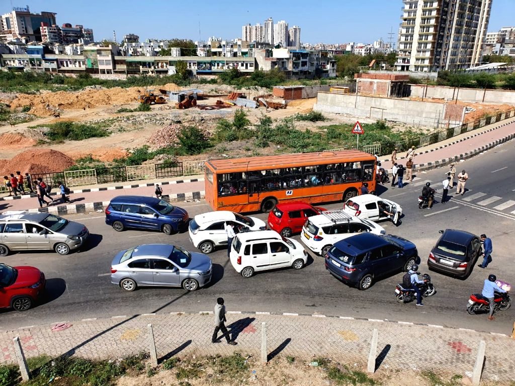 A view of the Anand Vihar bus terminal close to Delhi's border with Ghaziabad on Day 5 of the 21-day countrywide lockdown imposed to contain the spread of novel coronavirus, on March 29, ...