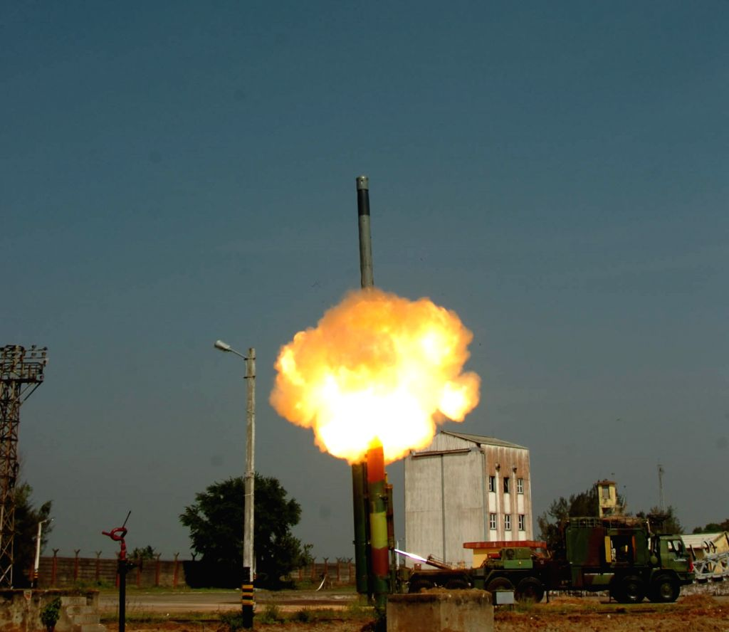 A view of the BrahMos supersonic cruise missile successfully test fired from a mobile launcher from the Integrated Test Range (ITR) at Chandipur in Odisha on March 11, 2017.
