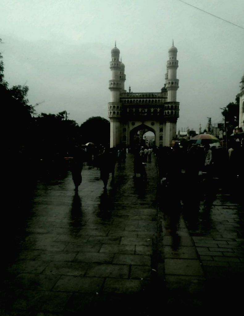 A view of the Charminar on a rainy evening in Hyderabad on July 31, 2020.