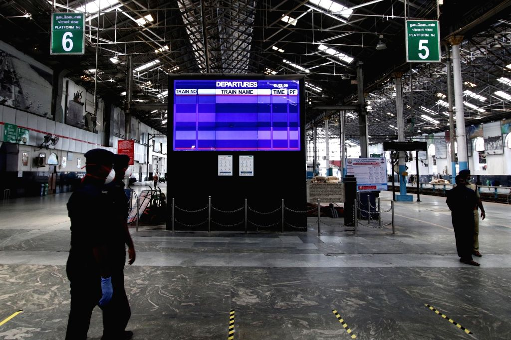 A view of the Chennai Central railway station during nationwide shutdown - Janata Curfew - called by Prime Minister Narendra Modi as a measure to contain the spread of COVID-19, on March 22, ... - Narendra Modi