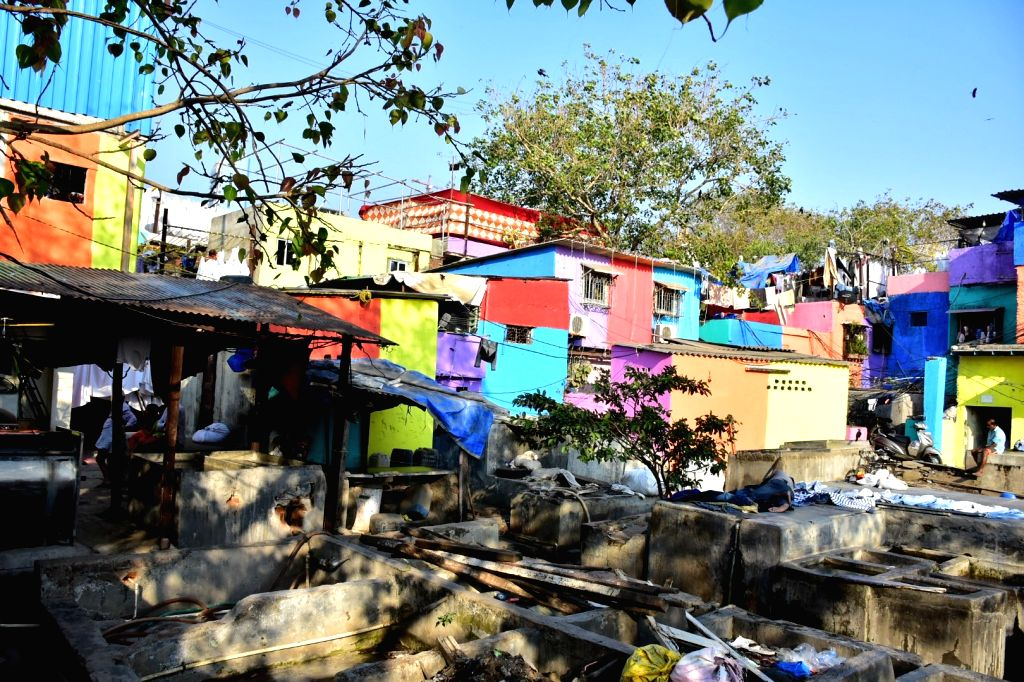 A view of the colorfully painted slum houses in Mumbai on Feb 17, 2018. As part of the initiative - 'Misaal Mumbai', artist Rouble Nagi has painted over 285 slum houses in the city. The aim ... - Rouble Nagi
