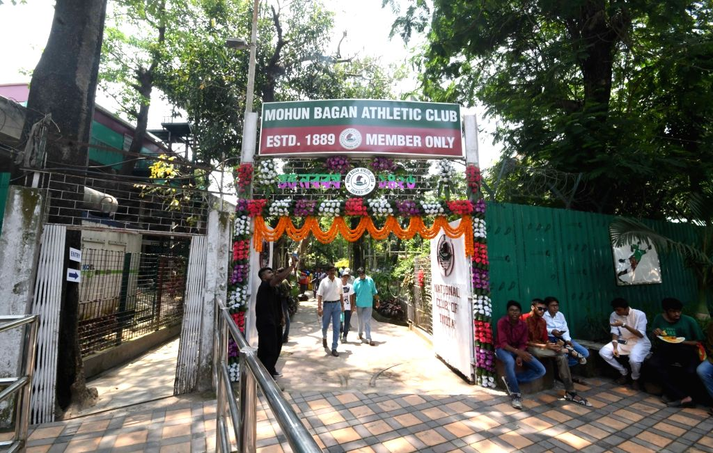 A view of the decorated entry gate of the Mohun Bagan Athletic Club during Bengali New Year celebrations, in Kolkata on April 15, 2019.