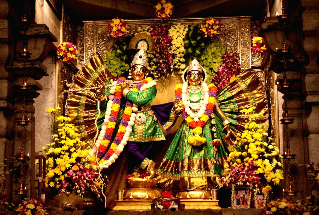A view of the decorated idol of Lord Krishna at ISKCON temple on the eve of Janmashtami, in Bengaluru on Sept 2, 2018.