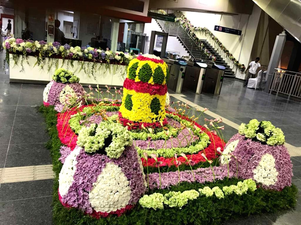 A view of the decorated Miyapur Metro station in Hyderabad during the inauguration of the first phase of Hyderabad Metro on Nov 28, 2017.