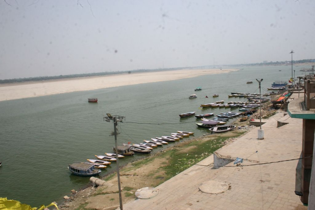 A view of the deserted banks of the Ganga river on a hot summer day in Varanasi, on June 4, 2019.