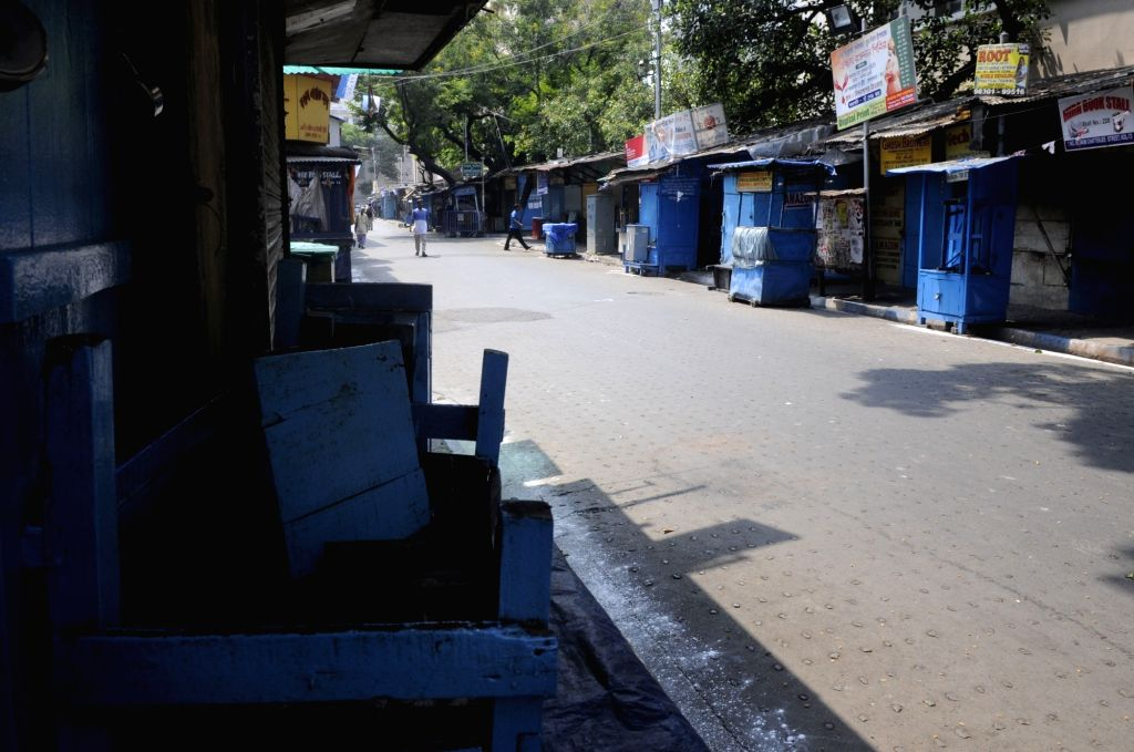 A view of the deserted College Street Book Market during re-polling at the polling station number 200 of Kolkata's Uttar parliamentary constituency after the Election Commission of India ...