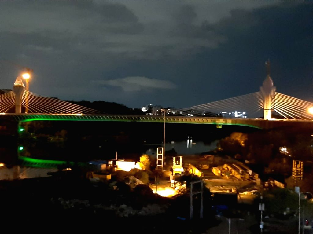 A view of the Durgam Cheruvu cable stay bridge which is likely to be inaugurated by Telangana Minister KT Rama Rao tomorrow, in Hyderabad on Sep 24, 2020. (File Photo: IANS) - K and Rao