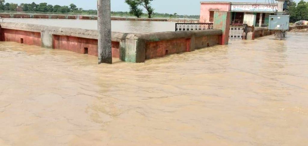 A view of the flood affected Darbhanga of Bihar on July 28, 2019.