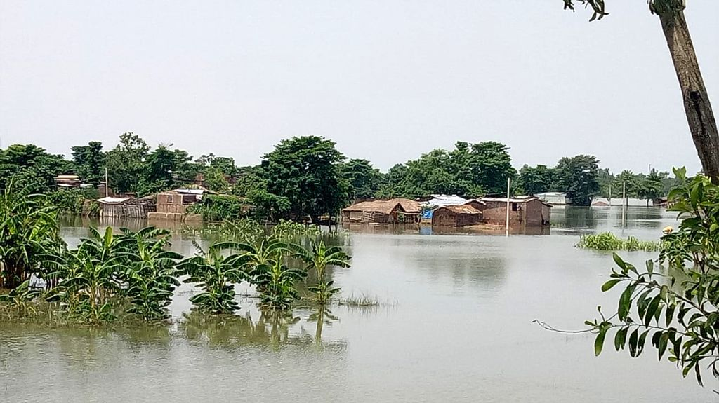 A view of the flood affected Sitamarhi in Bihar on July 19, 2019.