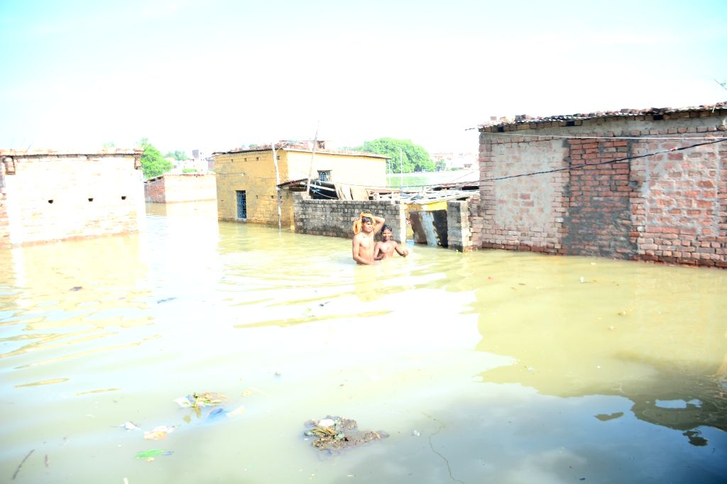 A view of the flood affected Varanasi, on Sep 16, 2019.