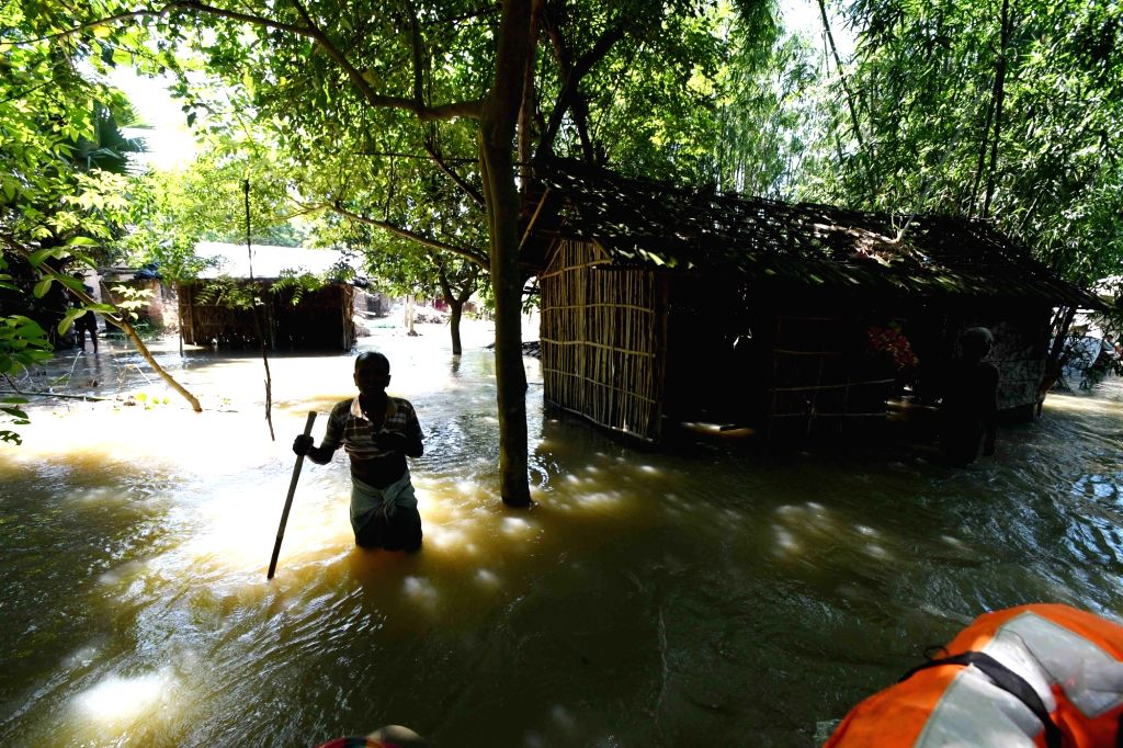 A view of the flood hit Katihar in Bihar on Aug 19, 2017.