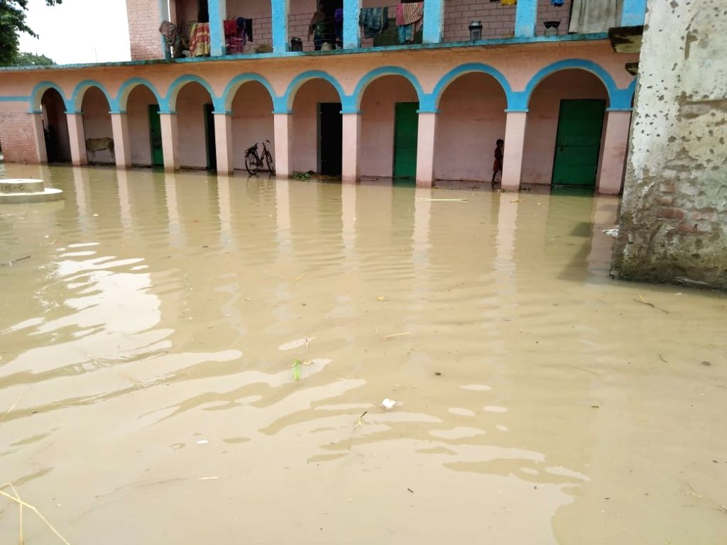 A view of the flood-hit Katihar in Bihar, on July 17, 2019.