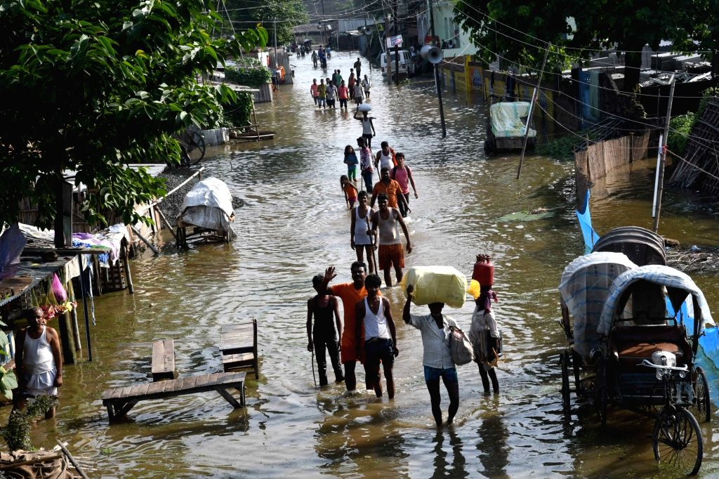 A view of the flood hit Motihari in the Champaran district of Bihar on Aug 17, 2017.