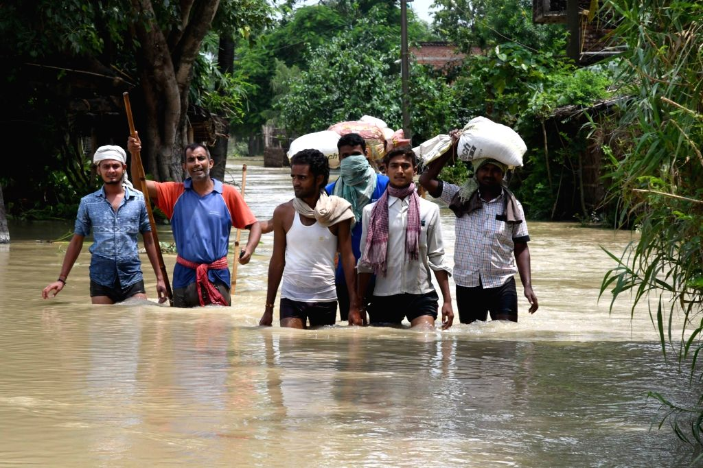 A view of the flood hit Sitamarhi district of Bihar on Aug 17, 2017.