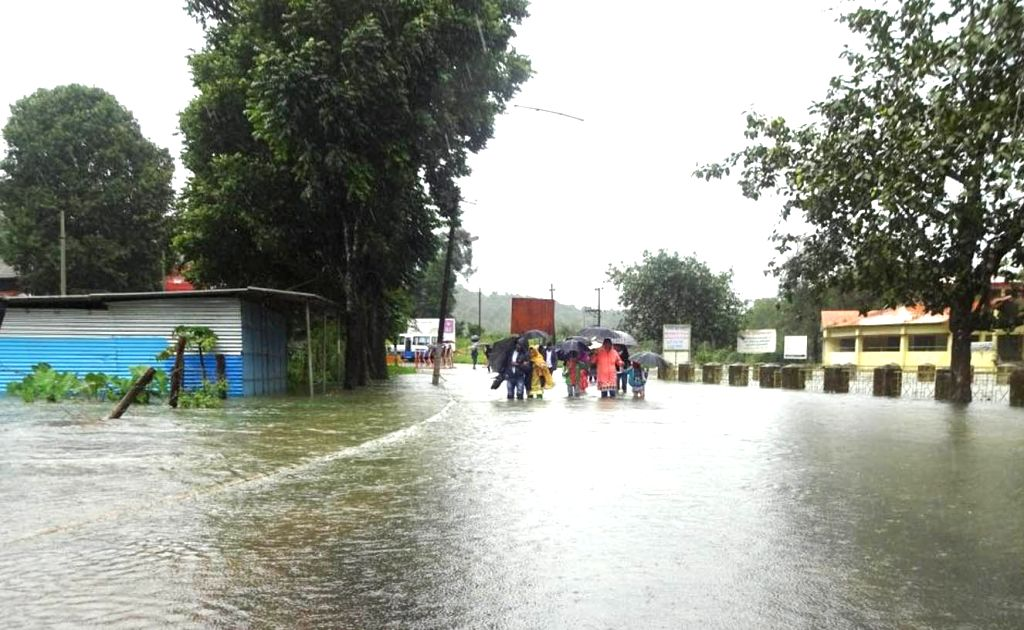 A view of the flooded Bhagamandala after heavy rains, in Karnataka's Kodagu district on July 11, 2018.
