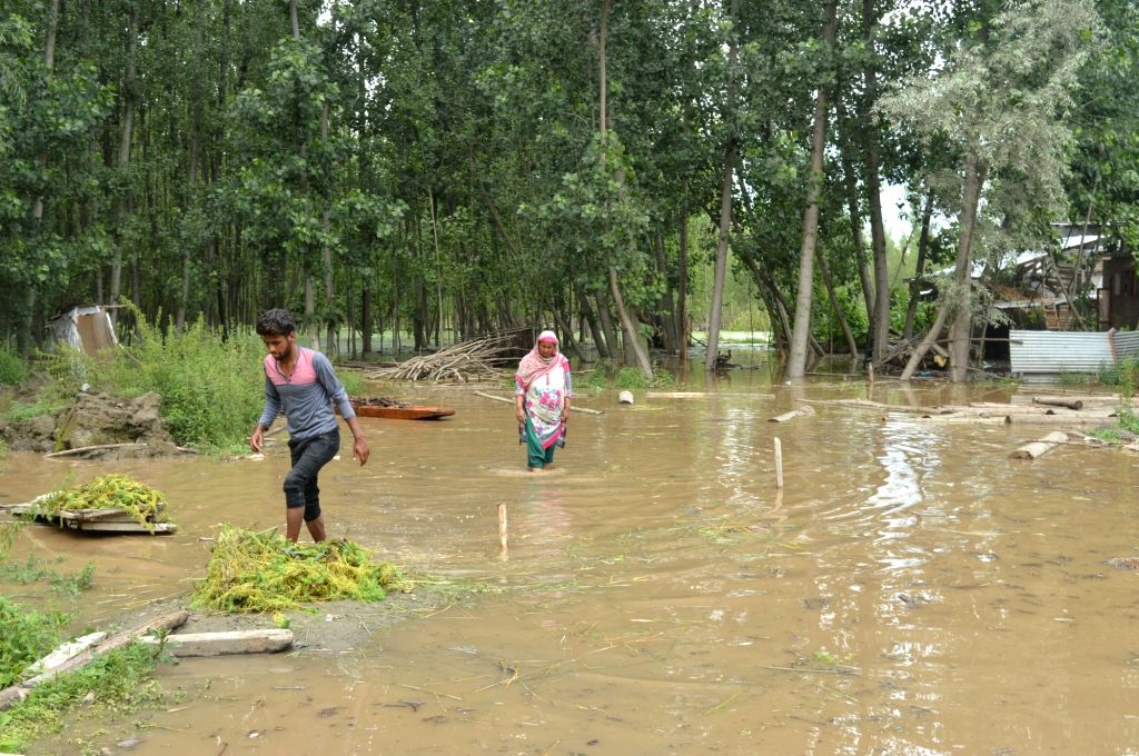 A view of the flooded Harwan village after heavy rains lashed Srinagar, on July 24, 2018.