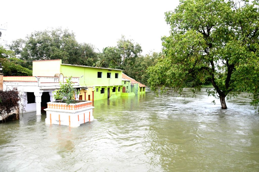 A view of the flooded Mandya district in Karnataka after excess water was released from the Krishna Raja Sagara (KRS) reservoir as heavy rains in the Cauvery catchment areas filled it to its ...