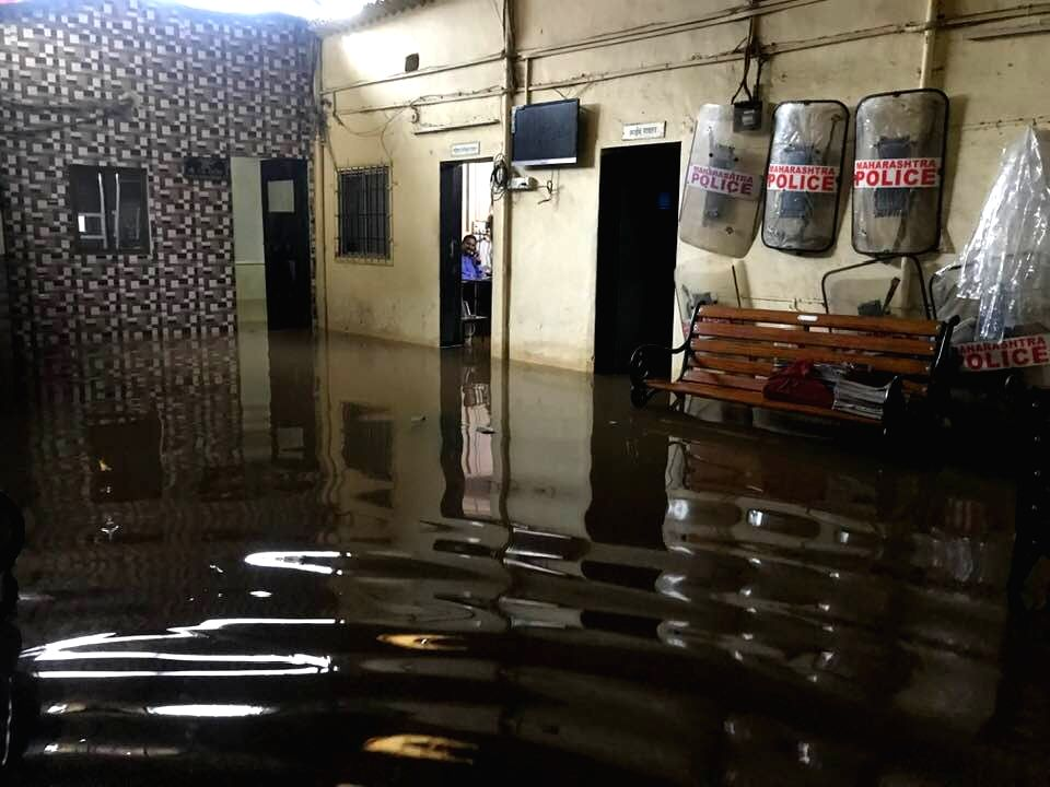 A view of the flooded Nalasopara Tulinj Police Station after heavy rains at Vasai in Maharashtra's Palghar, on Sep 4, 2019.
