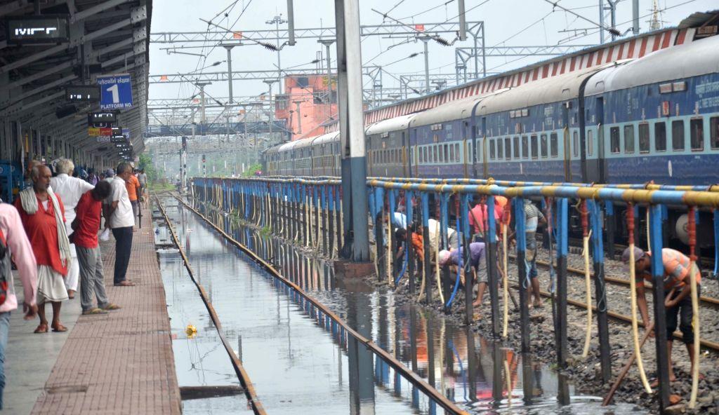 A view of the flooded railway tracks at Muzaffarpur Railway station, on July 25, 2019.