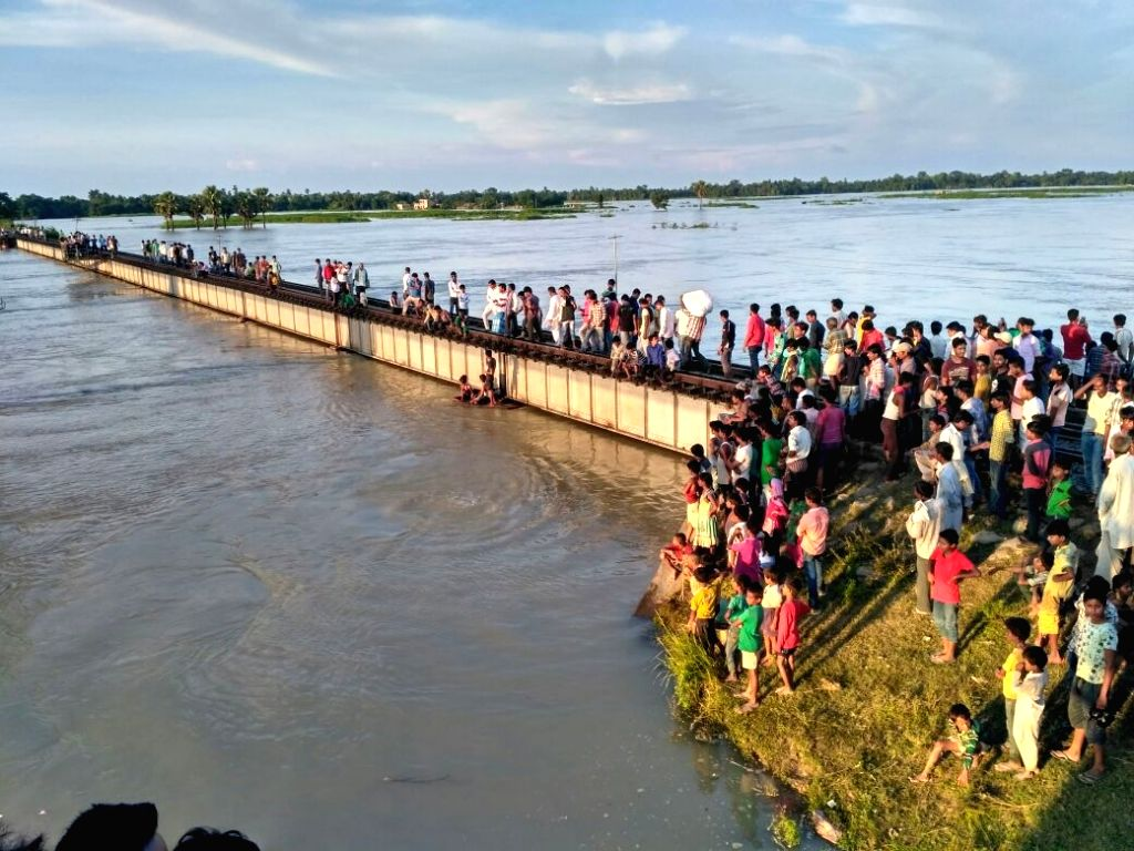 A view of the flooded Samastipur-Darbhanga railway line in Bihar on Aug 20, 2017.