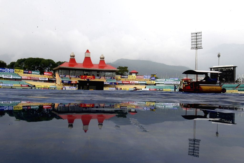 A view of the Himachal Pradesh Cricket Association Stadium after rains, on the eve of the first T20I match between India and South Africa, in Dharamsala on Sep 14, 2019.