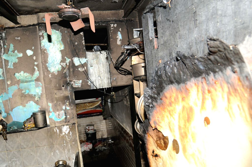 A view of the house damaged in a LPG cylinder blast in which reportedly four people were killed, at Santacruz in Mumbai on July 16, 2015.
